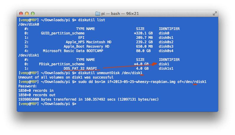 Utilizzo del Terminale per preparare la scheda SD con Raspbian usando dd. Il lettore SD interno del Mac corrisponde a /dev/disk1. Nei parametri del comando dd, tuttavia, si è preferito usare /dev/rdisk1 per una scrittura più veloce.
