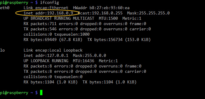 L'utilizzo di ifconfig per scoprire l'indirizzo IP assegnato dal router al Raspberry sulla rete locale (LAN).