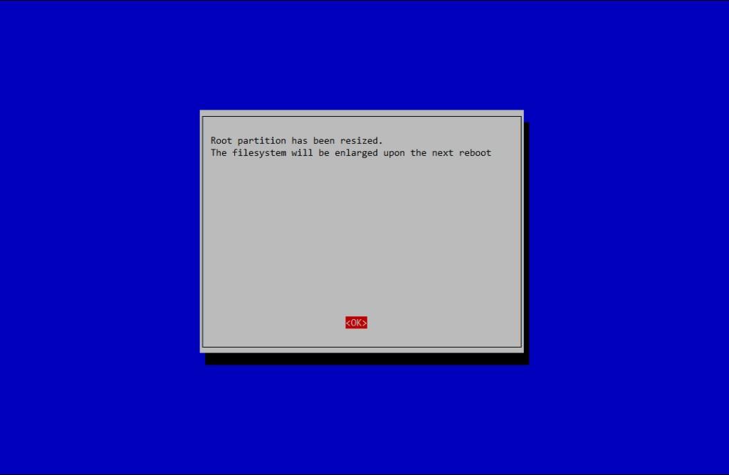 raspi-config ci informa che la partizione root è stata espansa per utilizzare tutto lo spazio della card SD.