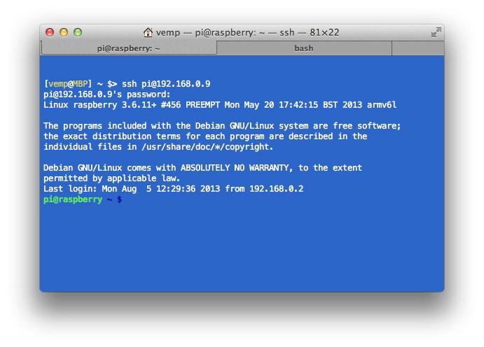 Il login via SSH usando Terminale sotto Mac OSX.