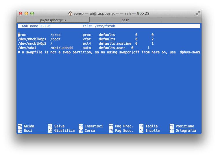 Come modificare il file /etc/fstab per montare automaticamente la partizione /dev/sda1.