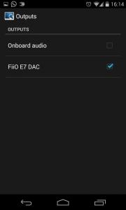 La schermata di selezione del device di output di MPDroid.