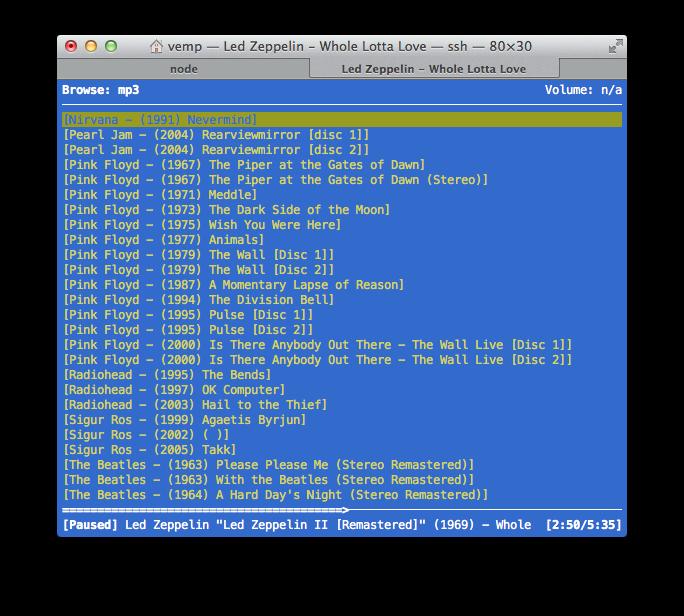 La schermata File Browser di ncmpcpp (tasto 3)