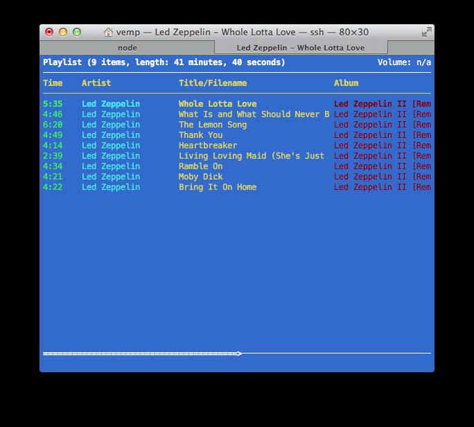 La schermata della playlist attiva in ncmpcpp (tasto 2)